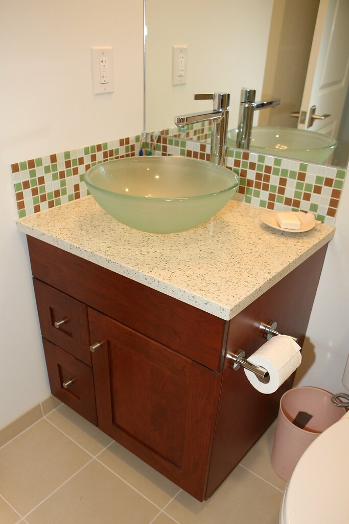 Guest bathroom sink cabinet glass vessel sink glass How to remodel a bathroom
