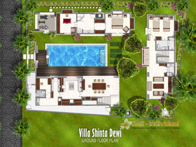 Villa shinta dewi floor plan villa shinta dewi named for Best house design tropical climate