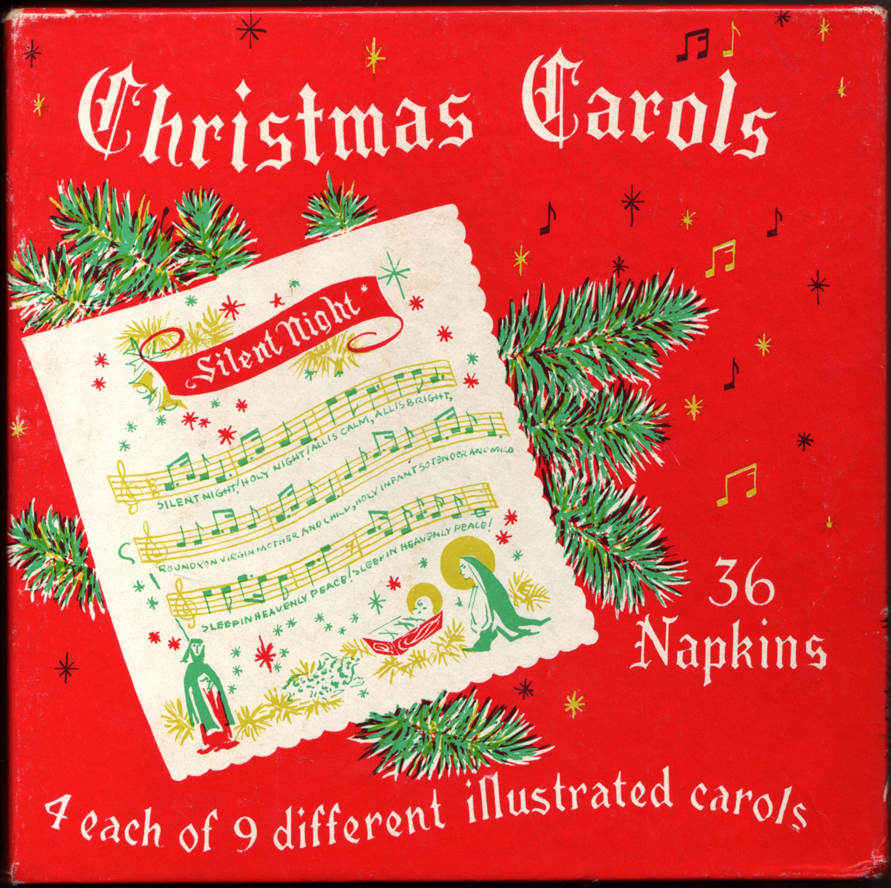 Christmas Carols Napkins - ca. 1950's