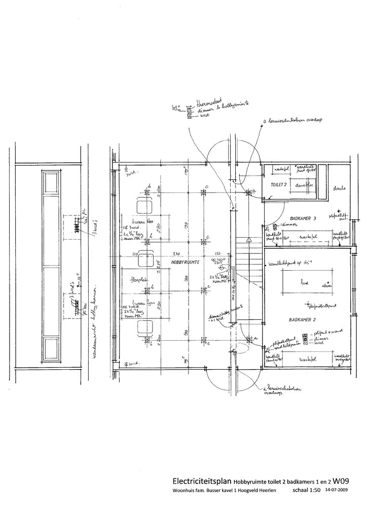 w09 drawing electricity plan studio  bathrooms 2 and 3