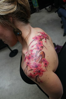 cherry blossom branch tattoo | by churchtattoo