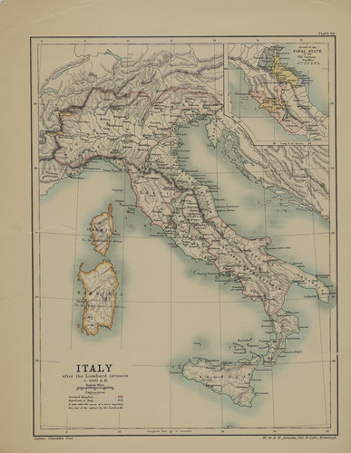 Map page of Section LXIII Italy in the Lombard Period A.D 568-774 from Part X of Historical atlas of modern Europe from the decline of the Roman empire : comprising also maps of parts of Asia and of the New world connected with European history | by uconnlibrariesmagic