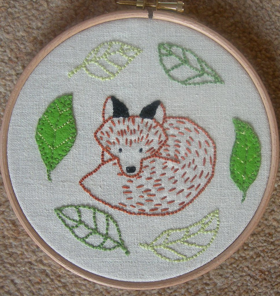 Simple fox embroidery woodland animals patterns