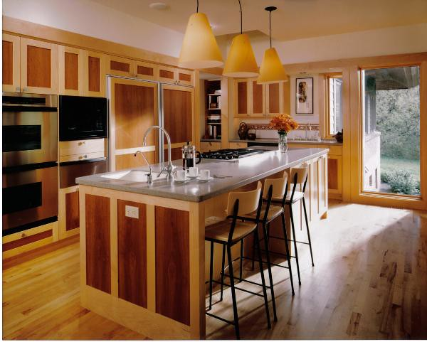 Kitchen with two tone wood cabinets and center island flickr for Two tone wood cabinets
