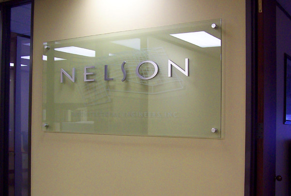 Glass Signage With Brushed Aluminum Letters And Etched 3d