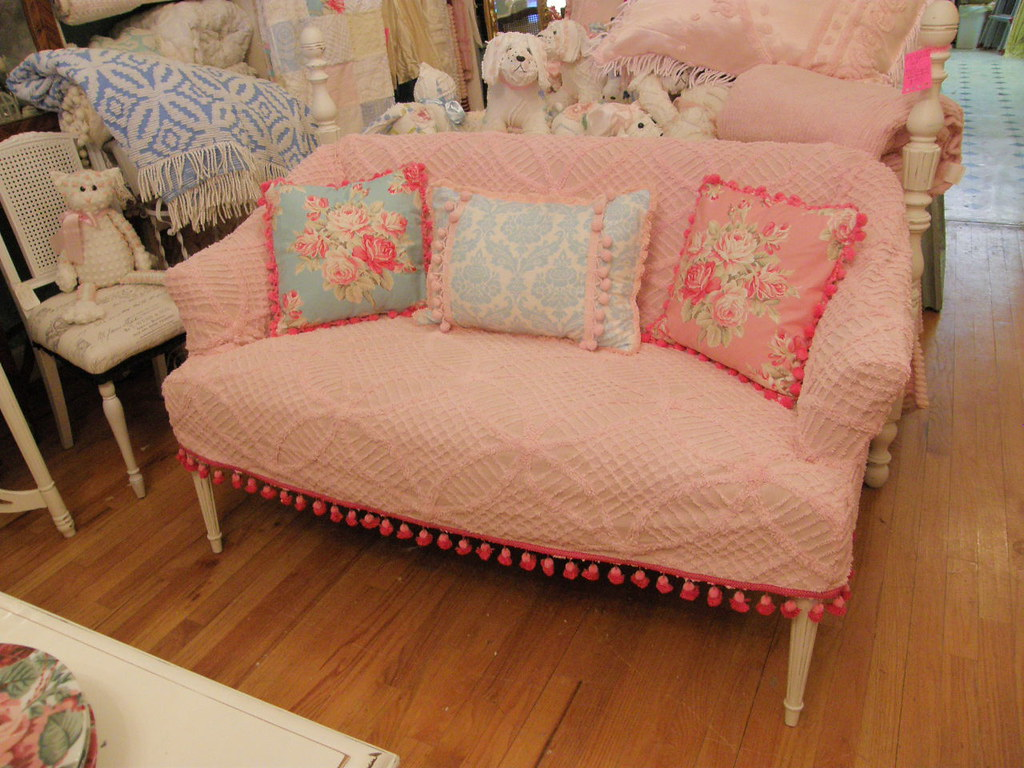antique setee shabby chic pink chenille bedspread slipcove flickr. Black Bedroom Furniture Sets. Home Design Ideas