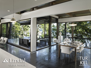 Daytime shot of dining room and patio | by Lindal Cedar Homes