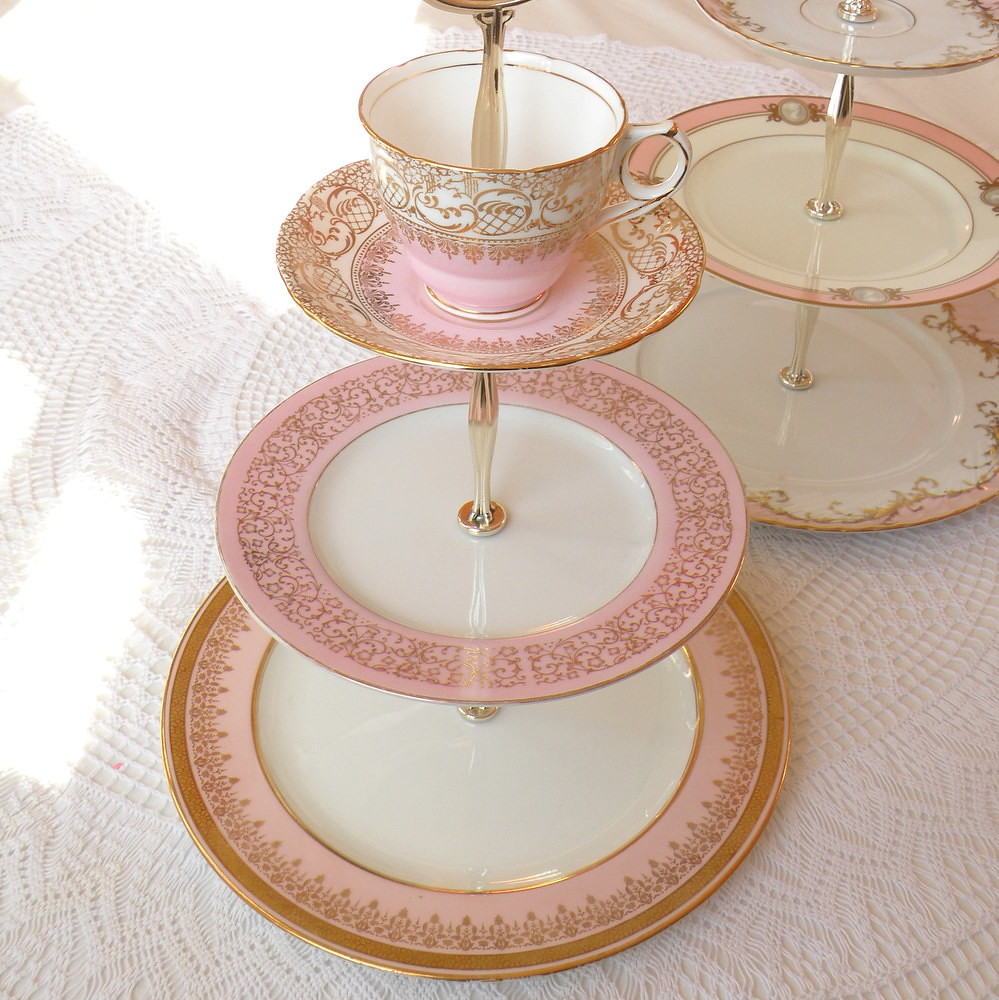 Pink Gold Cupcake Stand 3 Tier Wedding Cake Plate Tray Swe