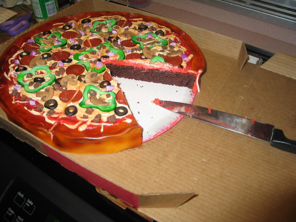 Pizza Cake With A Slice Missing The Tradition Continues