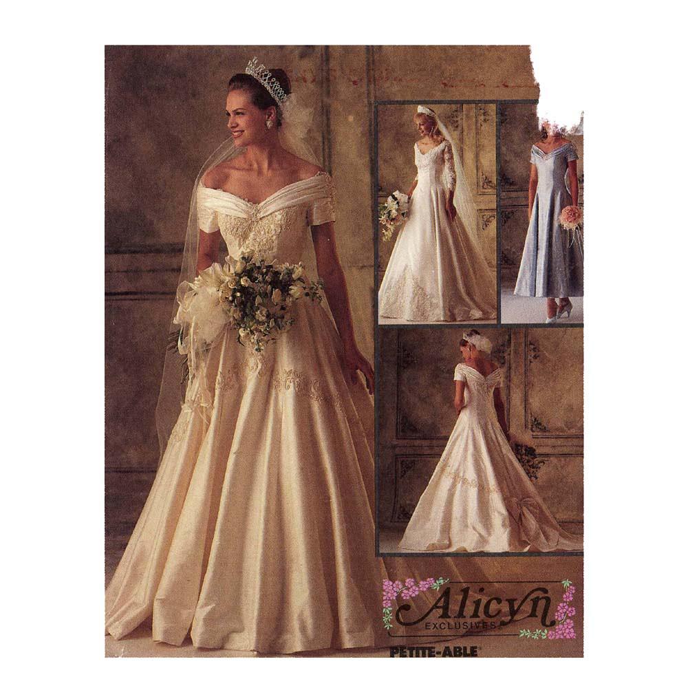 Mccalls 6951 wedding dress pattern 90s uncut romantic for Wedding dress patterns free