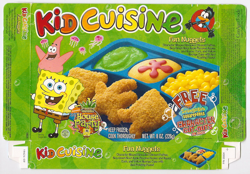 2002 kid cuisine sponge bob frozen tv dinner box gregg for Are kid cuisine meals healthy
