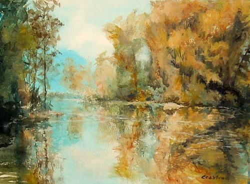 reflecting on reflections  acrylic landscape painting