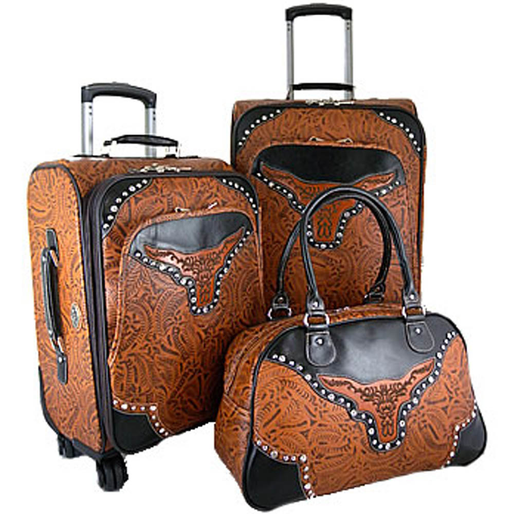 Western Floral Embossed Two Tone Longhorn 3 Piece Luggage