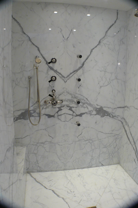Bookmatch Slab Shower Walls, Statuary Vein Marble From Itau2026 | Flickr