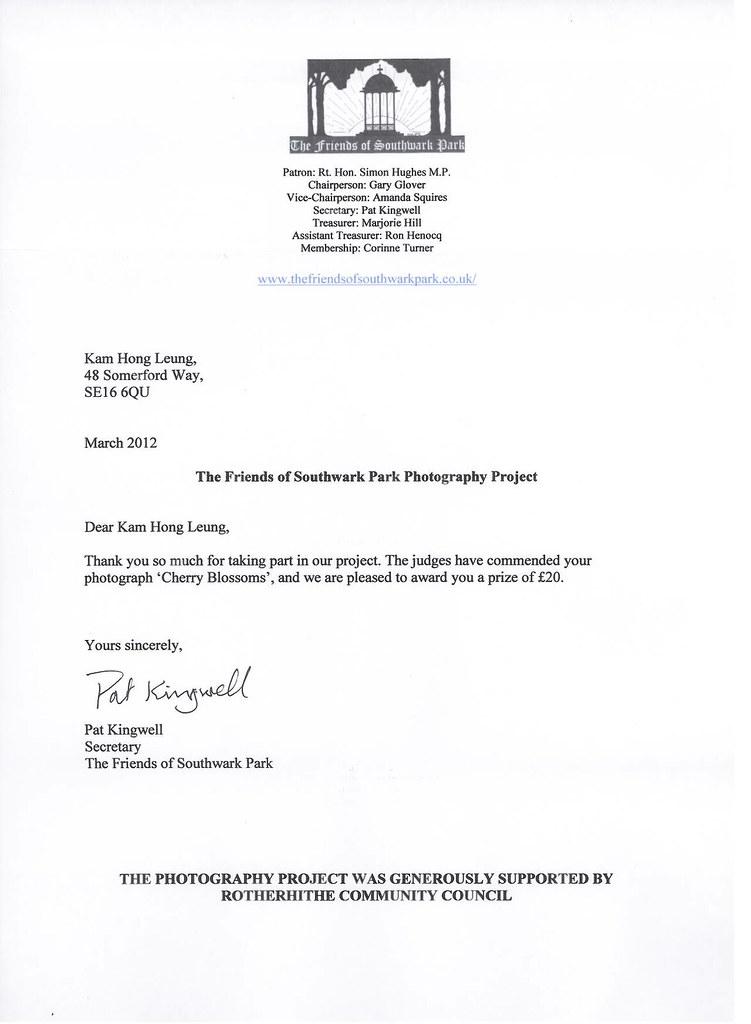 Friends Of Southwark Park Photo Contest Award Announcement