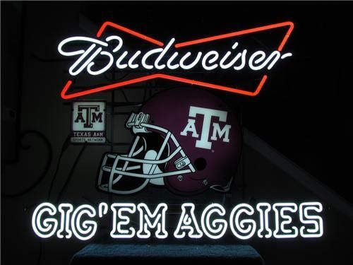 Budweiser Texas A Amp M Gig Em Aggies Neon Sign Neon Beer