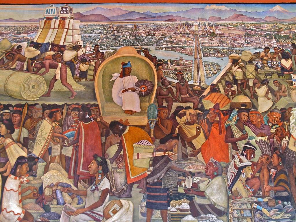 Diego rivera la gran tenochtitl n palacio nacional for Diego rivera aztec mural