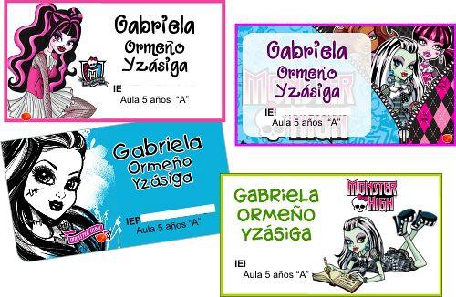 Monster high paquete 12 etiquetas full color quazar for Muebles de monster high
