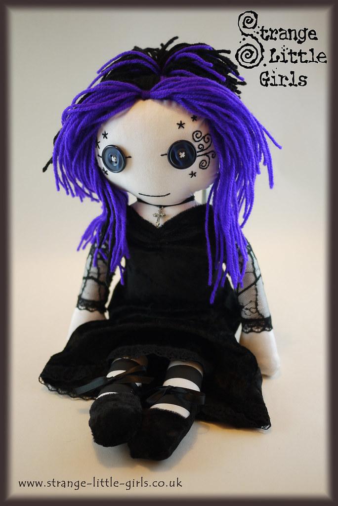 gothicdollastrid4 gothic rag doll with hand drawn