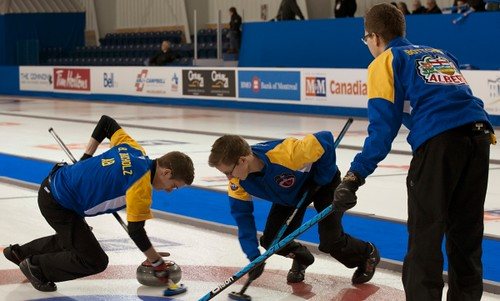 Napanee, ON Feb 12 2011 M&M Canadian Juniors Team Alberta Skip Brendan Bottcher, Second Landon Bucholz, Lead Bryce Bucholz. Michael Burns Photo Ltd. | by seasonofchampions