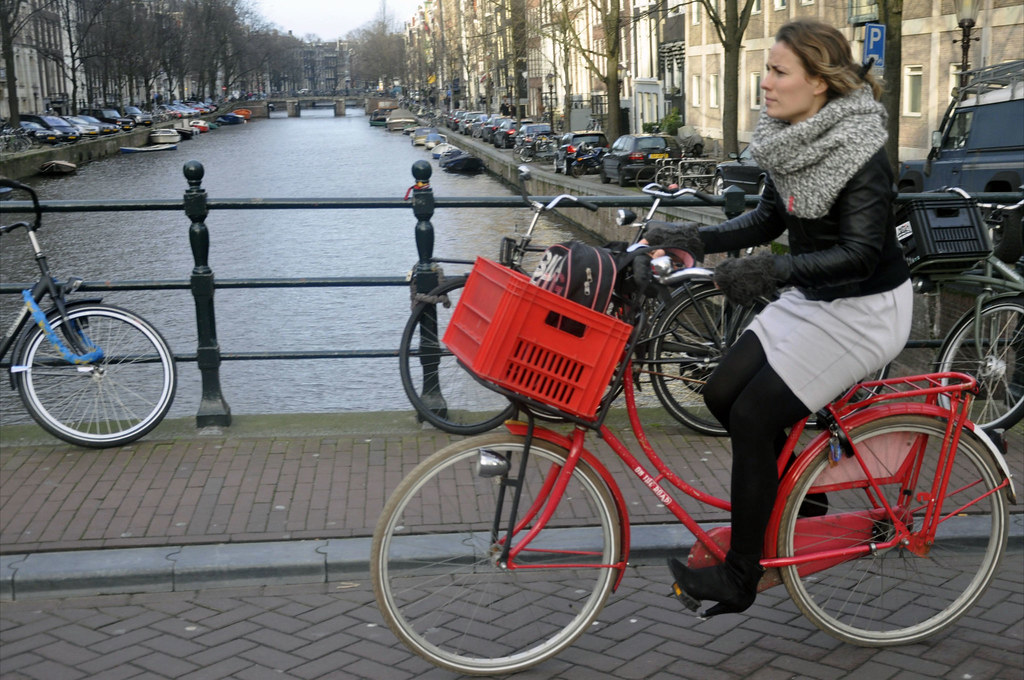 Red Dutch Bike Amsterdam Cycle Chic By Aude Girl