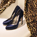 leopard coat- blue satin ferraamo pumps