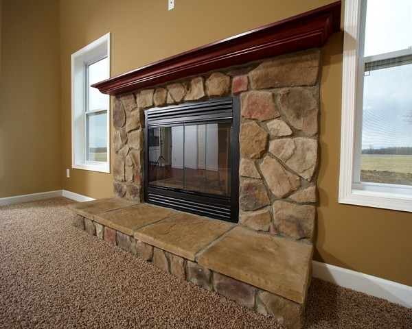 Fireplace with stone face hearth wayne homes flickr - Houses with fireplaces ...