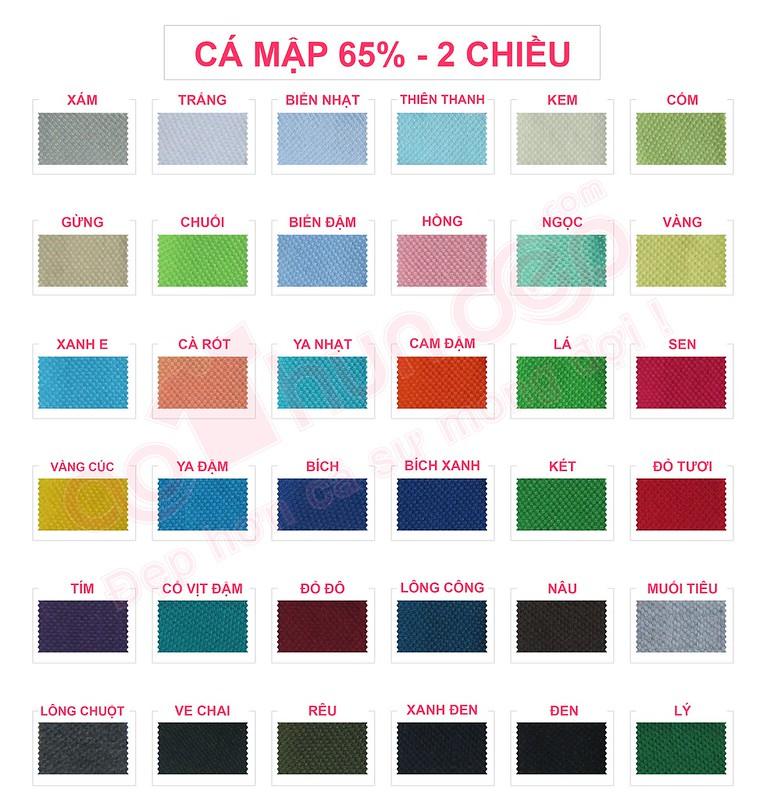 Bảng màu vải áo thun cá mập 65% 2 chiều