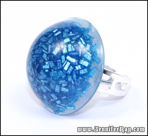 Blue Candy Ring - Real Candy Blue Resin Ring | by JenniferRay.com