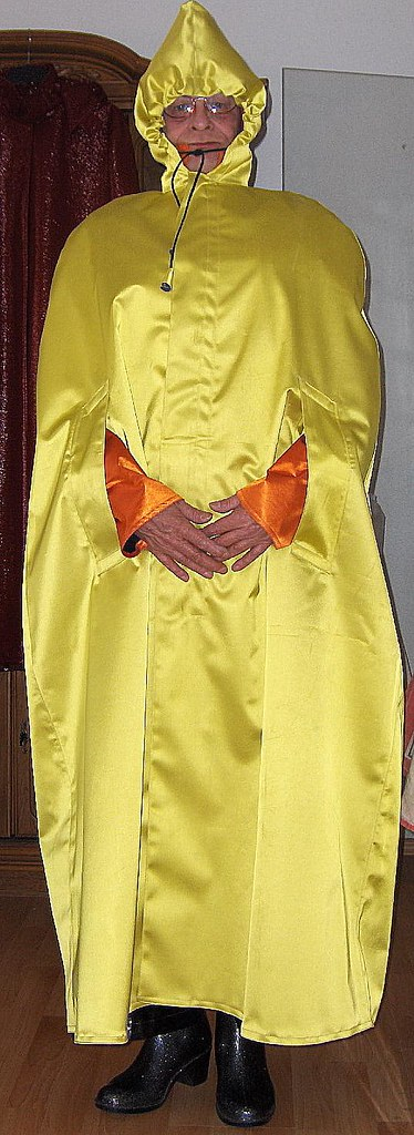 yellow rubberised satin cape front with orange rubberised
