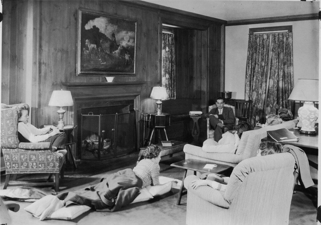 1930s house living room students and faculty member in