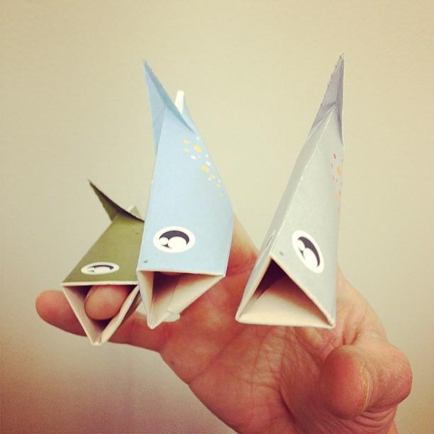 origami trout finger puppets linden laserna flickr