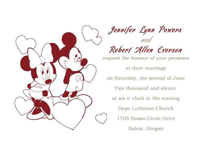 Red Mickey And Minnie Mouse Wedding Invitation