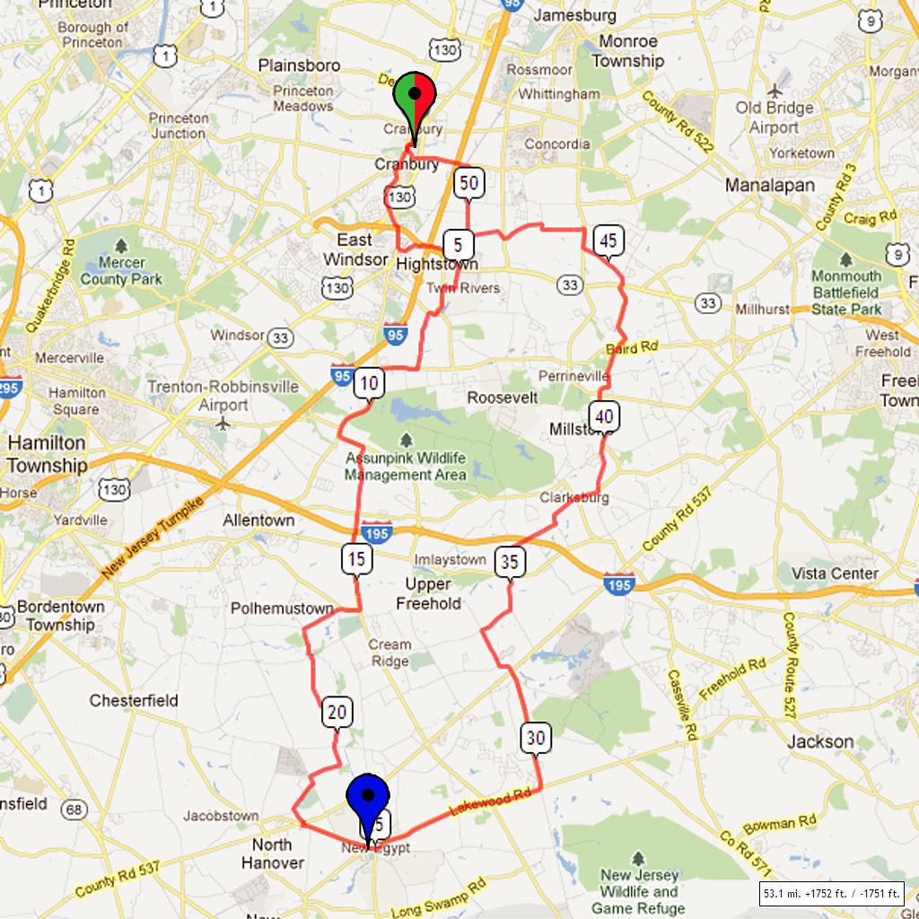 M To Ft 02 Bike Route Map Village Park Cranbury Nj Distance