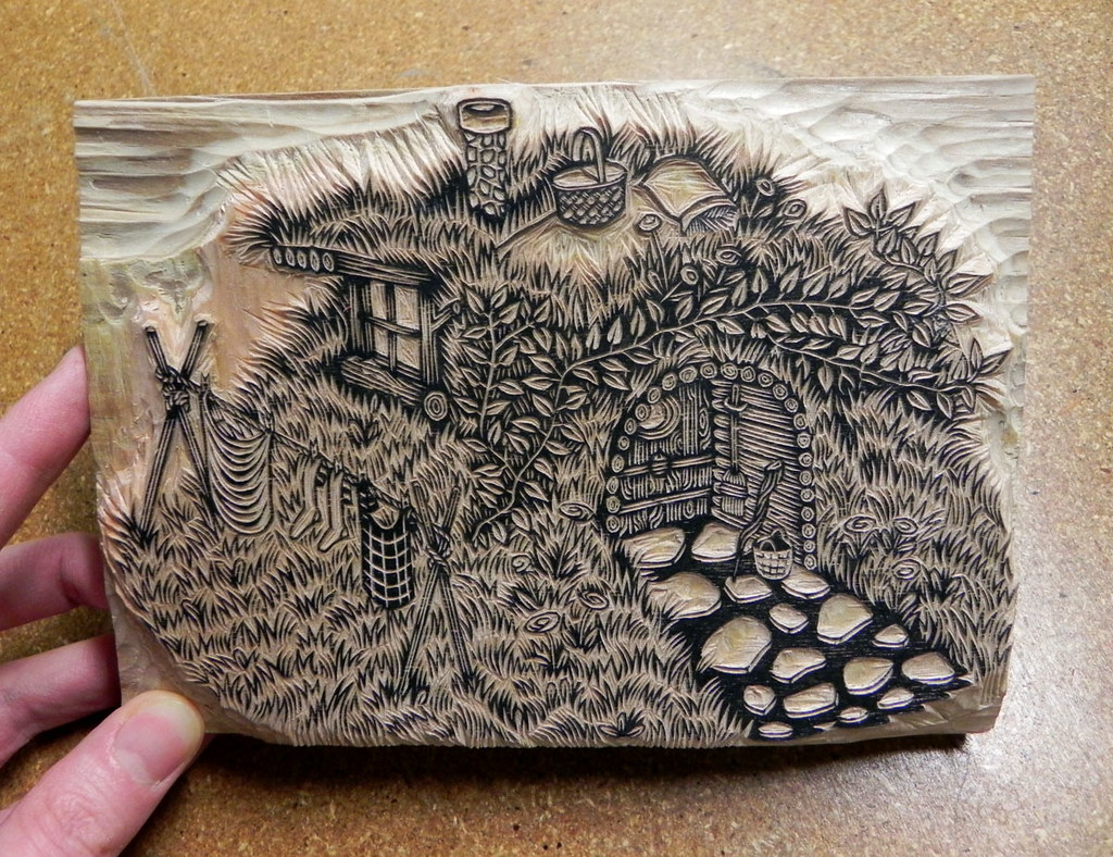 Quot Grass House Woodcut Print Key Block Done Carving The