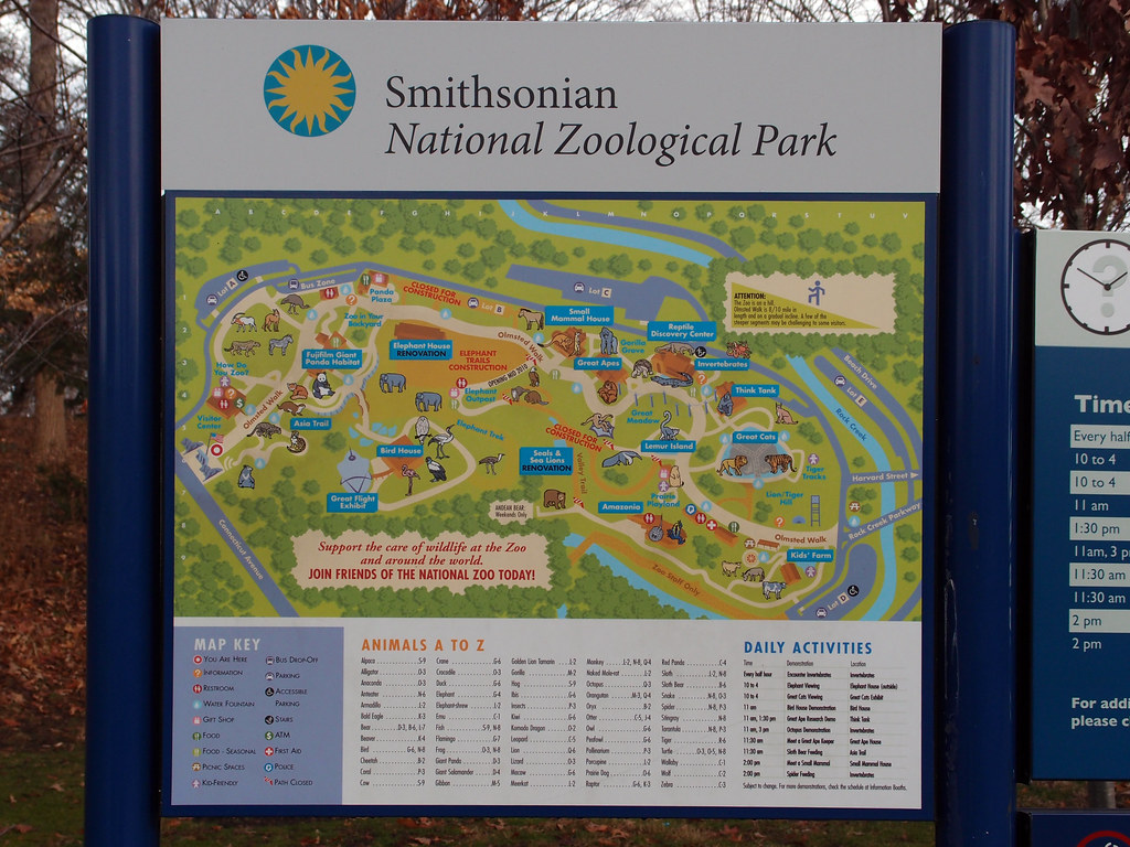 National Zoo Washington dc Map National Zoo Park Map