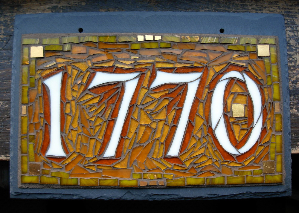 Nutmeg designs custom house number in amber 1770 a 4 for House number designs