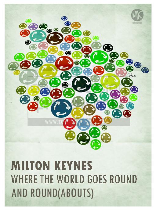 milton keynes round abouts     poster print