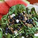Mixed greens with blueberries, goats cheese and sunflower seeds.