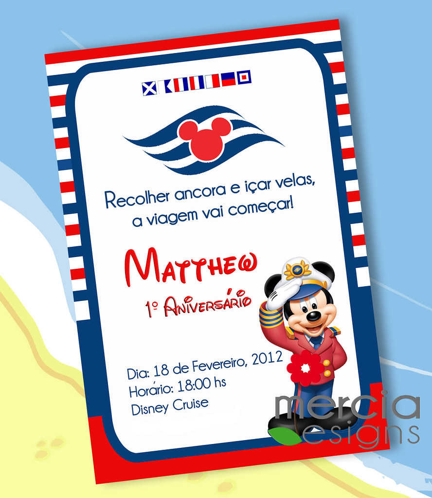 380 - Disney Cruise Invitation with Captain Mickey Mouse ...