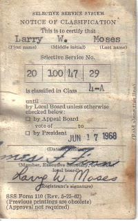 Larry Moses draft card | by Veteran Journal