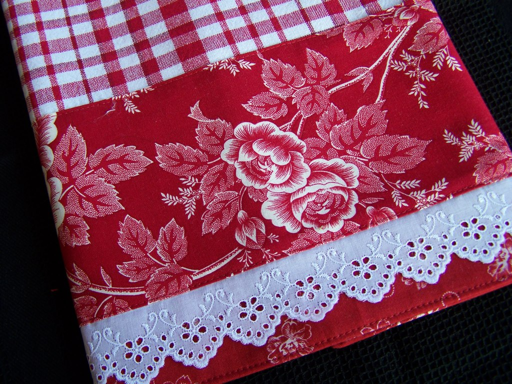 Red Checked Towel With Fancy Lace A Row Of Fancy Lace