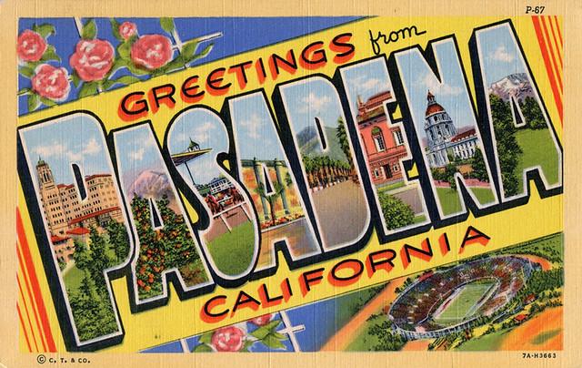 Greetings From Pasadena California Large Letter