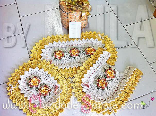 JOGO DE BANHEIRO OVAL FLOR JASMIN  By artesã Neila Dalla C…  Flickr -> Cuba Banheiro Oval