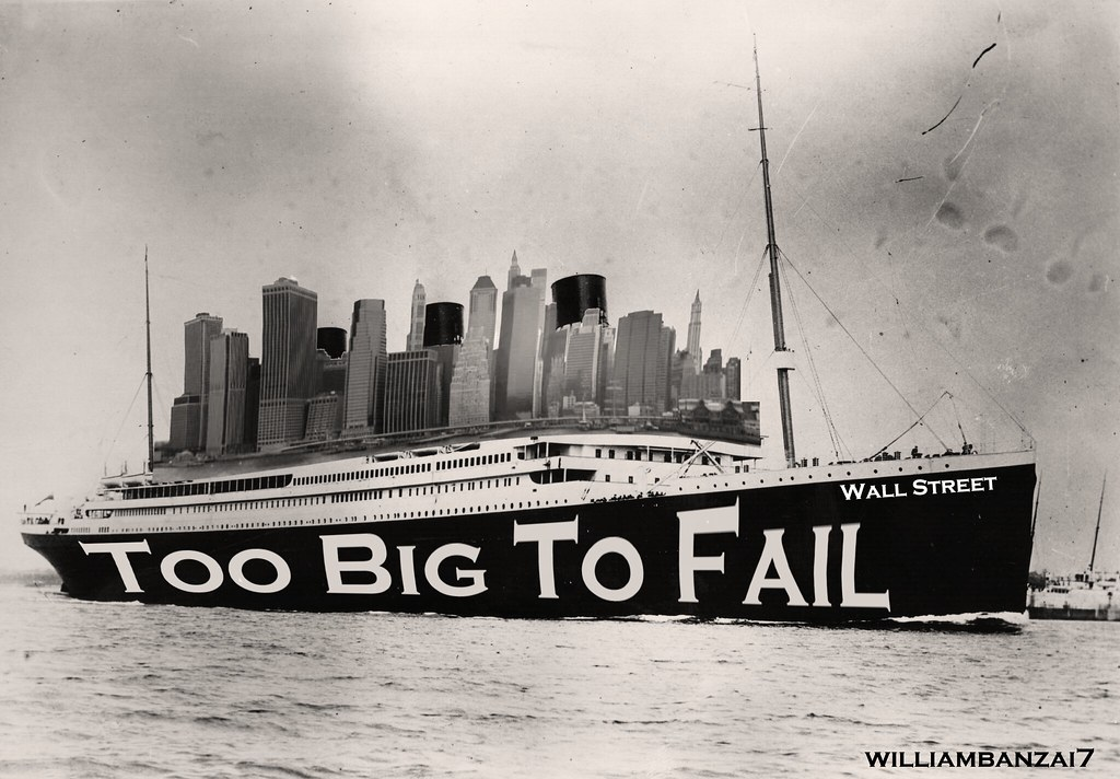 too big to fail Definition of too big to fail: idea that certain businesses are so important to the nation, that it would be disastrous if they were allowed to fail.