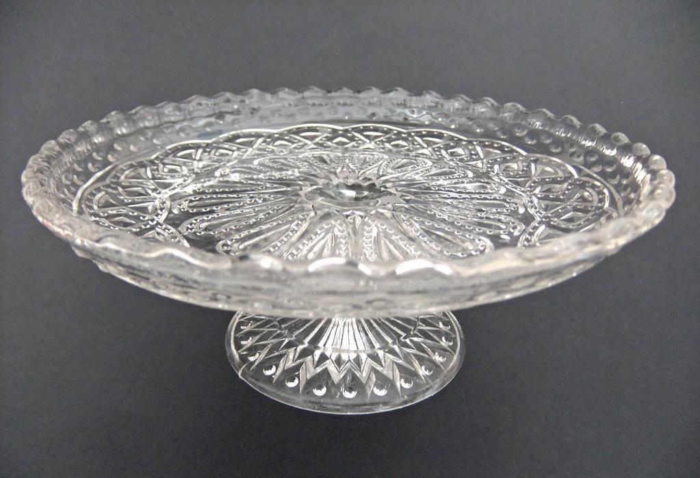 Pressed Glass Pedestal Cake Stand