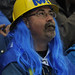 Blue-haired fan