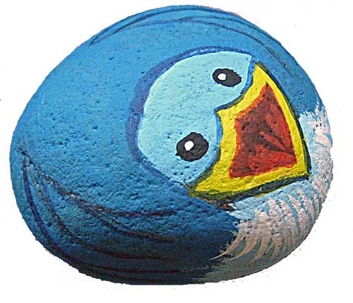 Baby bluebird of happiness painted rock this little - Painting rocks for garden what kind of paint ...