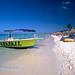 Eagle Beach View with a Boat and Plapas, Aruba, Dutch Antilles