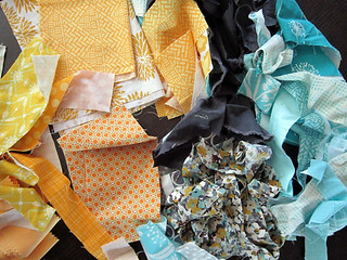 Golden-yellow, turquoise, robin's egg blue and gray | by StitchedInColor
